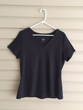 Motto Essentials women's L black short sleeve v-neck basic top QVC