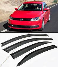 2011-2015 VW MK6 JETTA SEDAN SMOKE WINDOW VISOR DEFELCTOR W/ BLACK TRIM & CLIPS