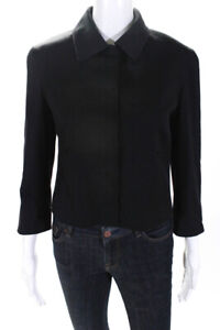Elie Tahari Womens Lace Lined Button Up Twill Jacket Black Wool Size 8