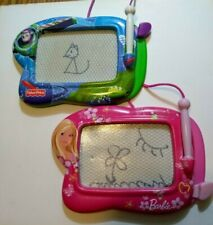 2 Fisher Price Toy Story and Barbie Travel Drawing Writing Doodle Boards Mini