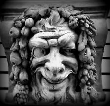 Huge Mythical Gothic Medieval Happy Pan Wall Sculpture Green Man Bracket Sconce