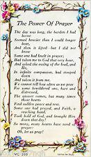 Prayer Verse Holy Card The Power Of Prayer Religious Keepsake In Plastic Wallet