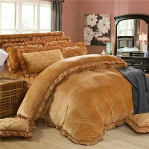 Flannel Quilting Luxury Bedding Sets Duvet Cover Set Bed Skirt Set Pillowcase