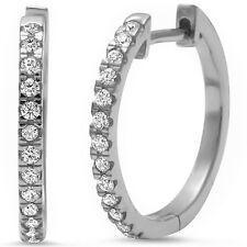 Cubic Zirconia Huggie Solid .925 Sterling Silver Hoop Earrings