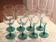 Green Stem With Swirl Cleared to Set Of 8 Wine Glass