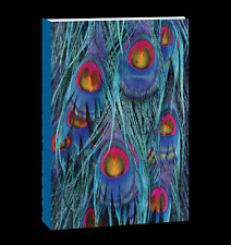Journal Notebook, Softcover Peacock design with Elastic Strap and Gold embossing