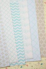 Baby Blue & Grey fancy Card Stock 250gsm Damask Chevron wedding craft postcards