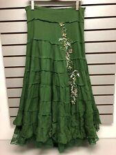 Twenty One Girl's Long Boho Skirt - Green Tiers w/ Bead Detail - Juniors Medium