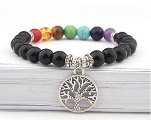 Anxiety Stress Relief Tree of Life Chakra Black Obsidian Gemstone Bead Bracelet