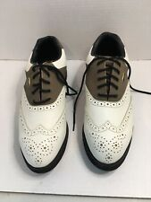 Niblick Brown & White Wing Tip Golf Shoes - Size 10.5