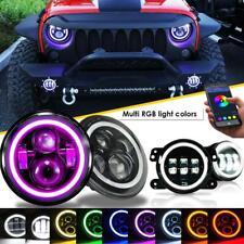 "2x 7"" 150W LED Headlight DRL RGB Angel Eyes+ Halo Fog Light for Jeep Wrangler JK"