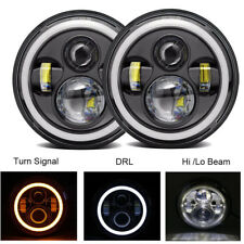 Pair 7Inch Round LED Headlight Halo Hi/Lo Beam for 97-17 JEEP JK TJ LJ Wrangler