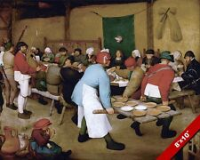 MARRIAGE FEAST DINNER AT THE PEASANT'S WEDDING PAINTING ART REAL CANVAS PRINT