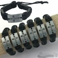 New men Lots 6 PCS Silver Tone Cross Black Hemp Genuine Leather Charm Bracelet