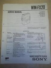Sony Service Manual~WM-FX20 Walkman Radio Cassette Player~Original~Repair