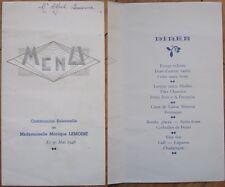 1948 Art Deco French Communion Menu: Siver & Blue Letters - Filet Charolais