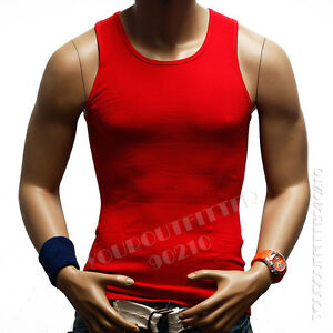 Men's Tank Top T-Shirt Slim Muscle Casual Ribbed Sleeveless Gym Fashion A-Shirt