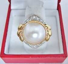 14K Yellow Gold Ring with 16mm White Mabe PEARL & Accent DIAMONDS  (size 7)