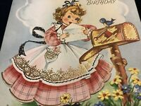 "#1977🌟Vintage 40s ""Sorry Late BIRTHDAY"" Sweet Southern Belle Gold Greeting Card"