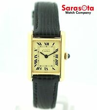must de Cartier 925 Gold Plated Champagne Roman Dial Hand Winding Women's Watch