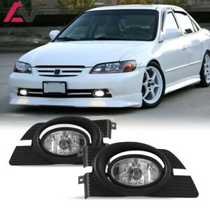For Honda Accord 01-02 Clear Lens Pair Bumper Fog Light Lamp+Wiring+Switch Kit