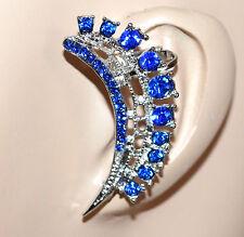 MONO ORECCHINO argento blu donna ragazza strass cristalli brillantini F223