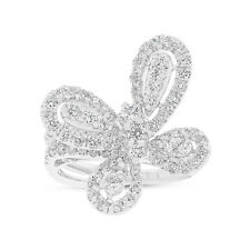 1.51CT 18K White Gold Diamond Butterfly Ring, Butterfly Cocktail Ring
