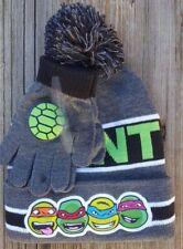 Teenage Mutant Ninja Turtles Hat And Glove Set Boys Beanie Pom Pom One Size