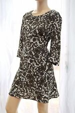 AA Next petites brown ivory floral smart work party ¾ sleeve dress 14uk