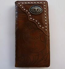 Texas Long Horn Mens Wallet Western Bifold Check Book Style W030-14 Brown