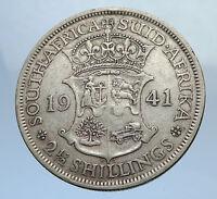 1941 Great Britain United Kingdom UK GEORGE VI Silver Half Crown Coin i69901