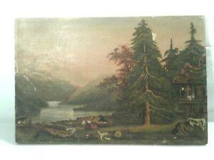 Antique Primitive Oil On Canvas Painting Landscape Goats Cows Home And Couple