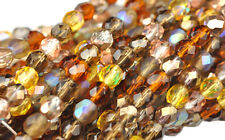 50 Wheat berry Mix Fire Polished Faceted Czech Glass Round Beads 6mm
