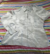 Silver Oriental Pattern Button Blouse 100% Silk Shirt-size Medium~GLOBAL SHIP