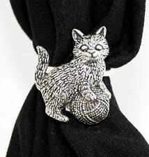Kitten playing Scarf Ring, English Pewter, Handmade in Great Britain, cat (ab)