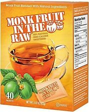 MONK FRUIT IN THE RAW 40 packets 100% Natural Sweetener Zero Calorie Luo Han Guo