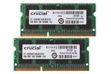 16GB Crucial 2X 8GB 8 G 2Rx8 PC3L-12800S SODIMM RAM Laptop Memory DDR3L 1600Mhz