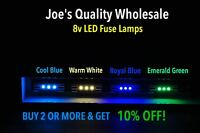 (7)WHITE/BLUE/GREEN 8V LED FUSE LAMP-DIAL VINTAGE RECEIVER Sansui COLOR CHOICE!