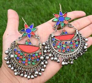 Kuchi Earrings Tribal Crescent Star Pendant Ethnic Dance Jewelry Bohemian Boho