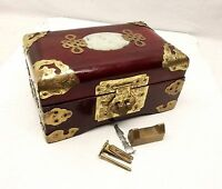 Vtg Chinese Wood Jewelry Vanity Box Lacquer Brass Ornate Carved Jade Lid Trinket