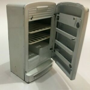 vintage dolls house Metal Refrigerator with shelves