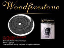 (10mm) WOOD FIRE STOVE & HEATER (GRAPHITE) Fibreglass ROPE SEAL KIT 2 Metres