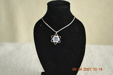 HANDMADE IN ISRAEL, SILVER STAR OF DAVID PENDANT WITH 2000 YEAR OLD ROMAN GLASS