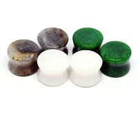 Lot of 3 pairs Stone Plugs (Labradorite, Green Jade, White Jade) gauges 6g to 1""
