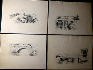 1881-1883 Six Antique CHARCOAL DRAWING Pencil ART Signed & Dated FRENCH Bridge