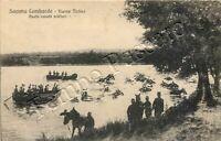 Cartolina di Somma Lombardo, cavalli militari a nuoto nel fiume Ticino - Varese