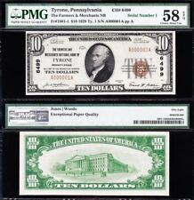 Amazing *RARE* Top of Sheet SERIAL No 1 1929 $10 TYRONE, PA National! PMG 58 EPQ