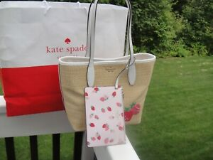 New Kate Spade Picnick In The PARK Small Leather & Straw Straeberries Bag$299.99