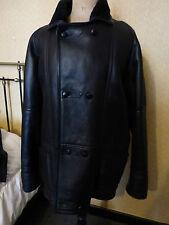 vintage, veste longue en cuir noir intérieur mouton t 48 TTBE GICA SPORT