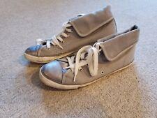 ALDO Ladies Canvas High Top Shoes size 9 Grey Metallic Lace up GUC
